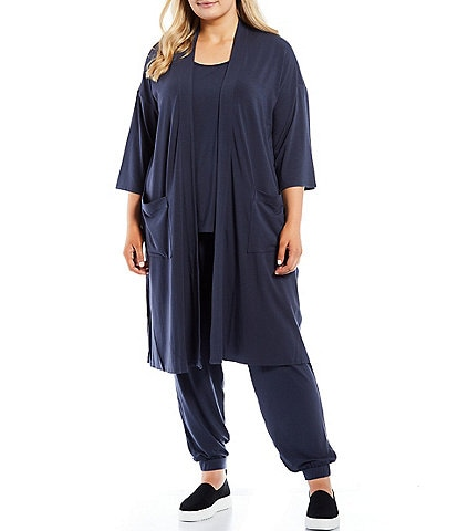 Eileen Fisher Plus Size Fine Stretch Jersey Knit Elbow Sleeve Boxy Coordinating Jacket