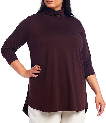 Eileen Fisher Plus Size Fine Tencel Jersey Scrunch Neck Long Sleeve Hi-Low Tunic