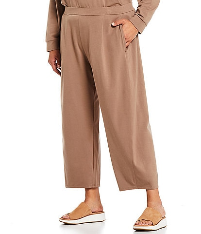 Eileen Fisher Plus Size Heathered Organic Cotton Stretch Jersey Cropped Coordinating Lantern Pant