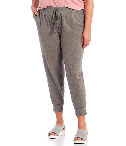 Eileen Fisher Plus Size Heathered Organic Cotton Stretch Jersey Slouchy Ankle Jogger With Pockets