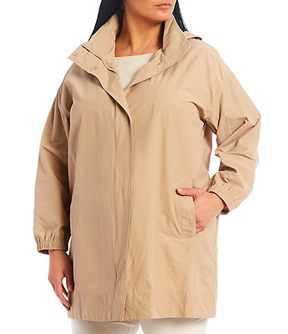 Eileen Fisher Plus Size Light Cotton Nylon Stand Collar Long Coat