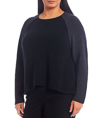 Eileen Fisher Plus Size Merino Funnel Neck Box Top