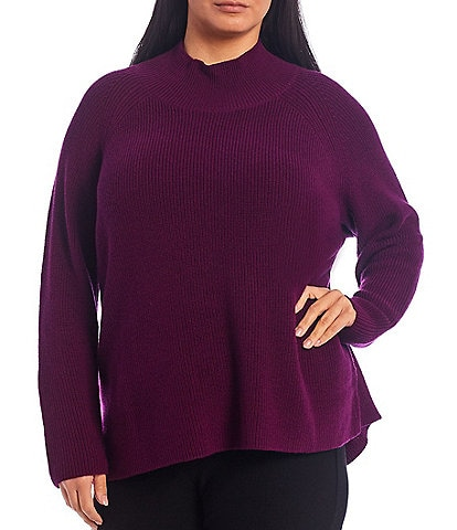 Eileen Fisher Plus Size Merino Turtleneck Raglan Sleeve Sweater