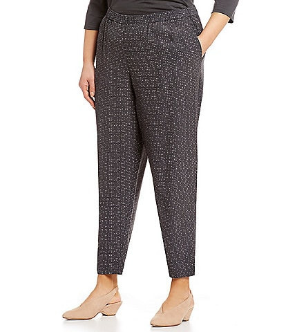 Eileen Fisher Plus Size Morse Code Print Slouchy Tapered Ankle Pants
