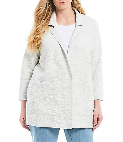 Eileen Fisher Plus Size Notch Collar Boxy Jacket