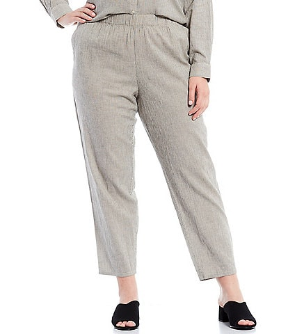 Eileen Fisher Plus Size Organic Cotton Linen Ticking Stripe Tapered Ankle Pull-On Pants