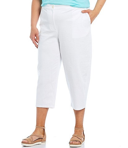 Eileen Fisher Plus Size Organic Cotton Ponte Tapered Capri Pants