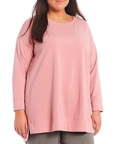 Eileen Fisher Plus Size Organic Cotton Stretch Jersey High-Low Round Neck Long Sleeve Tunic