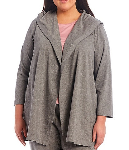 Eileen Fisher Plus Size Organic Cotton Stretch Jersey Hooded Jacket