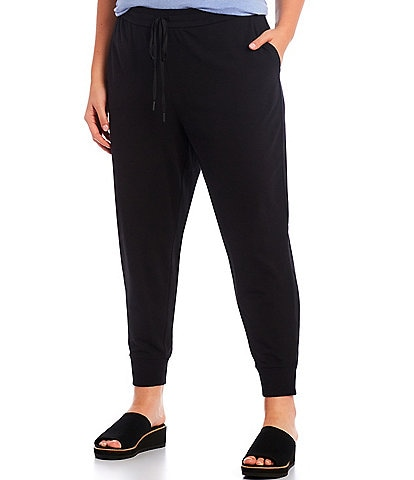 Eileen Fisher Plus Size Organic Cotton Stretch Jersey Slouchy Ankle Jogger Pant
