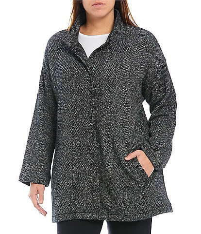 Eileen Fisher Plus Size Organic Cotton Textural Two-Tone Terry Knit Stand Collar Long Sleeve Jacket
