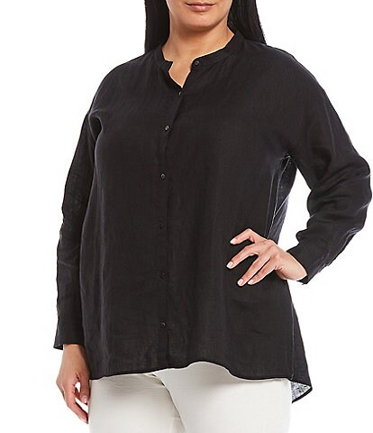 Eileen Fisher Plus Size Organic Handkerchief Linen Mandarin Collar Shirt