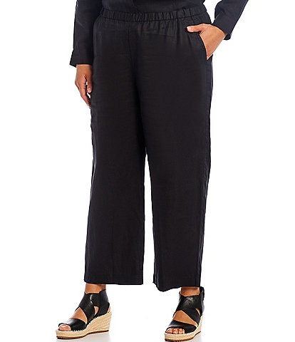 Eileen Fisher Plus Size Organic Linen Ankle Length Straight Leg Pants