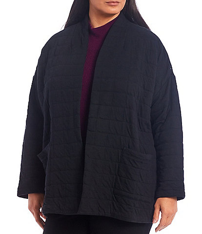 Eileen Fisher Plus Size Quilted Organic Cotton High Collar Jacket