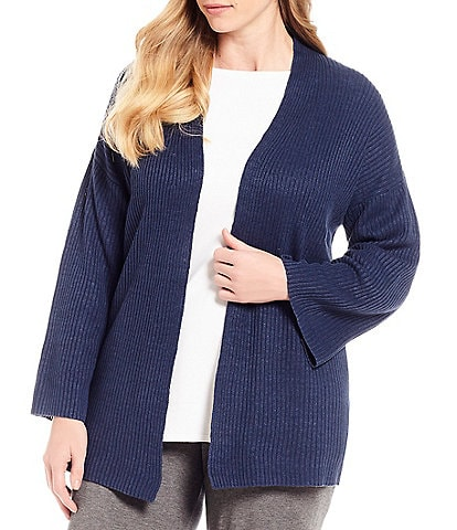 Eileen Fisher Plus Size Ribbed Angled Front Cardigan