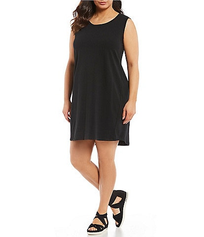 Eileen Fisher Plus Size Scoop Neck Sleeveless Mini Dress