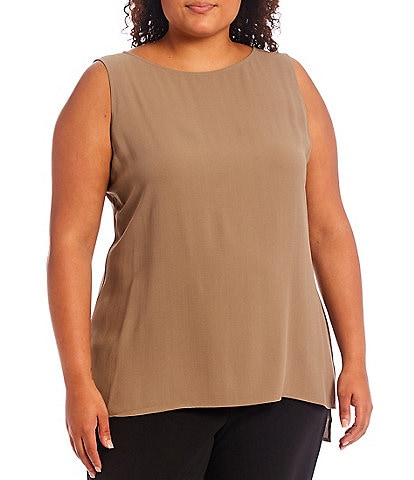 Eileen Fisher Plus Size Silk Georgette Crepe Round Neck Long Sleeveless Shell