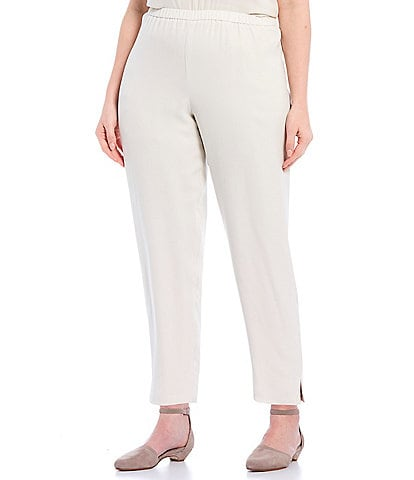 Eileen Fisher Plus Size Silk Georgette Crepe Tapered Pant With Side Slits