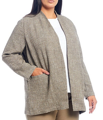 Eileen Fisher Plus Size Tweedy Cotton Slub Long Sleeve Open Front Jacket