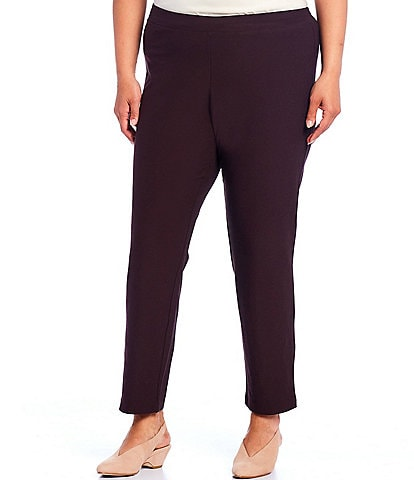 Eileen Fisher Plus Size Washable Stretch Crepe Ankle Pant