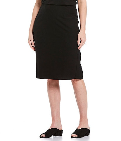 Eileen Fisher Plus Size Washable Stretch Crepe High Waist Knee Length Pencil Skirt