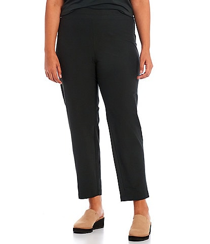 Eileen Fisher Plus Size Washable Stretch Knit Crepe Slim Ankle Pull-On Pants