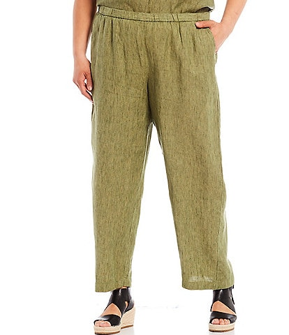 Eileen Fisher Plus Size Washed Organic Linen Delave Cross Dye Ankle Straight Leg Pants