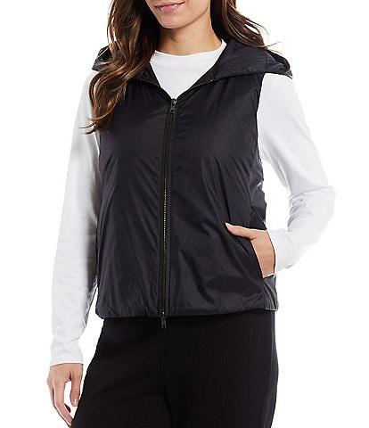 Eileen Fisher Recycled Nylon Sleeveless Hooded Vest