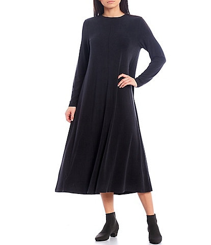 Eileen Fisher Sandwashed Cupro Knit Crew Neck Long Sleeve Midi Dress