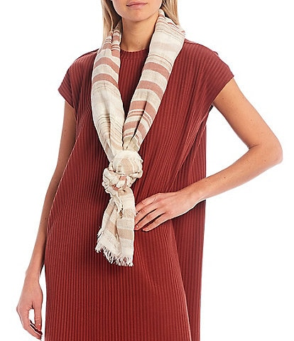Eileen Fisher Sheer Stripe Linen Blend Scarf