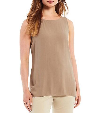 Eileen Fisher Silk Georgette Crepe Bateau Neck Long Sleeveless Shell
