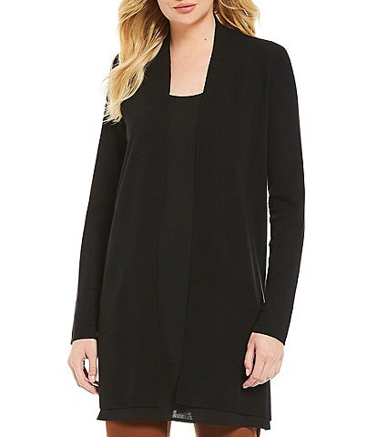 Eileen Fisher Simple Long Side Slit Wool Cardigan
