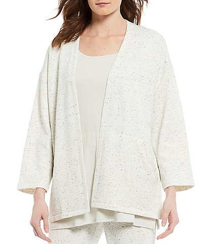Eileen Fisher Speckled Organic Cotton Blend Terry Bracelet Sleeve Open Front Jacket