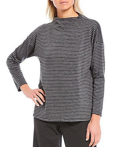 Eileen Fisher Stretch Terry Stripe Funnel Neck Box-Top