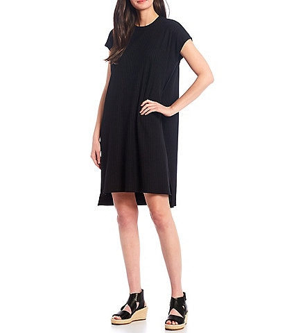 Eileen Fisher Stretch Textured Rib Crew Neck Knee Length Dress