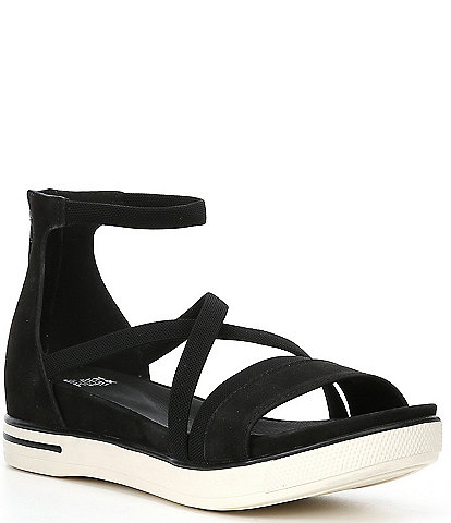 Eileen Fisher Sway Leather Ankle Strap Platform Wedge Sandals