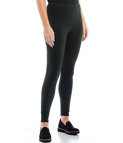 Eileen Fisher Tencel & Organic Cotton Fleece Stretch Knit Ankle Leggings