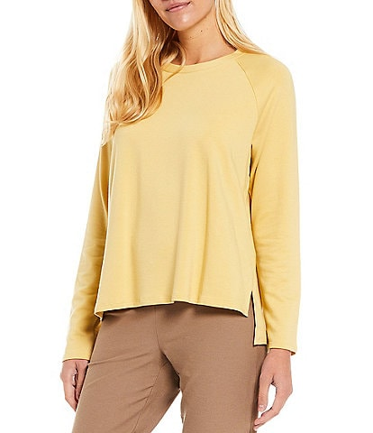 Eileen Fisher Tencel Organic Cotton Fleece Stretch Knit Crew Neck Raglan Shoulder Long Sleeve Top