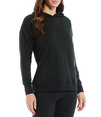 Eileen Fisher Tencel Organic Cotton Fleece Stretch Knit Hooded Round Neck Long Sleeve Boxy Coordinating Long Pullover