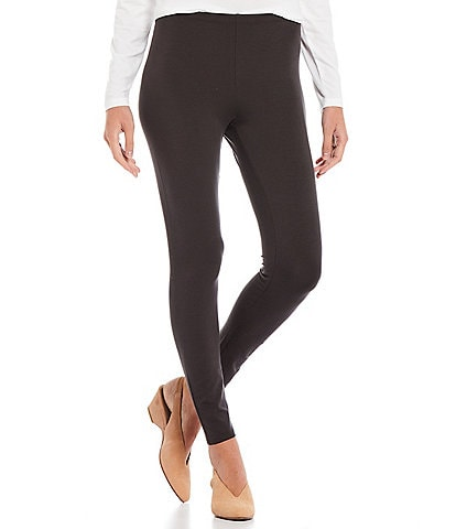 Eileen Fisher Tencel Stretch Knit Jersey Ankle Length Pull-On Leggings