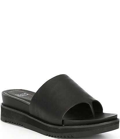 Eileen Fisher Touch Leather Sport Wedge Slides