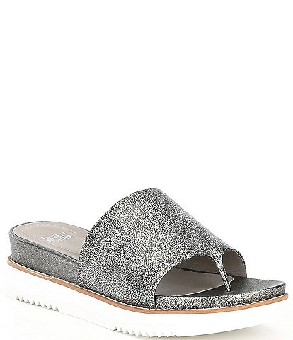 Eileen Fisher Touch Metallic Leather Sport Slides
