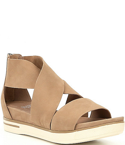 Eileen Fisher Tumbled Leather Criss Cross Banded Backstrap Sport Sandals