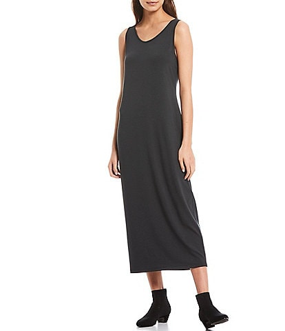 Eileen Fisher Viscose Jersey Scoop Neck Tank Maxi Dress