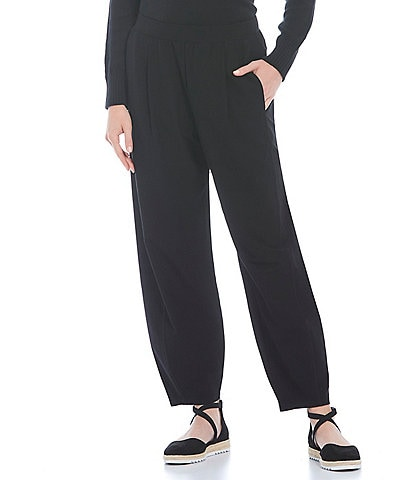 Eileen Fisher Washable Stretch Crepe Ankle Pleated Lantern Pants