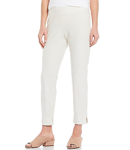 Eileen Fisher Washable Stretch Crepe Slim Ankle Pant With Side Slits