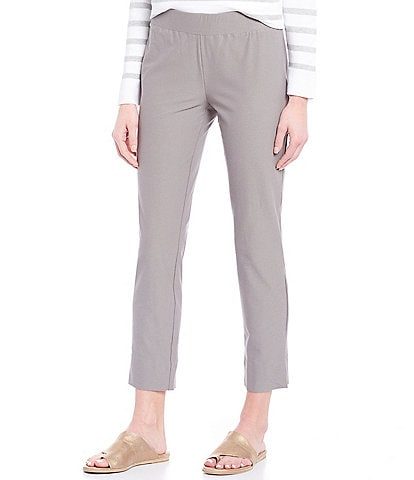 Eileen Fisher Washable Stretch Crepe Slim Cropped Pants With Side Slits