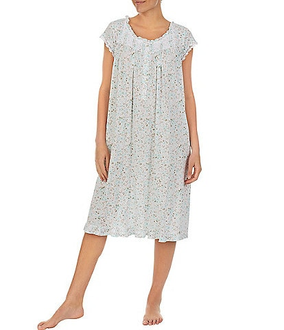 Eileen West Ditsy Floral Print Jersey Knit Waltz Nightgown