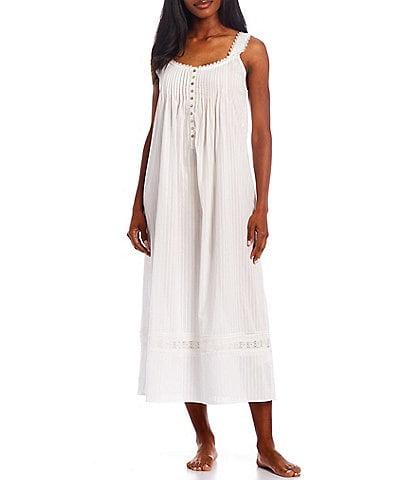 Eileen West Dobby Striped Textured Woven Round Neck Ballet Nightgown