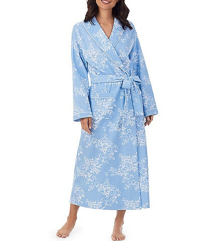 Eileen West Floral Print Diamond Quil Long Wrap Robe